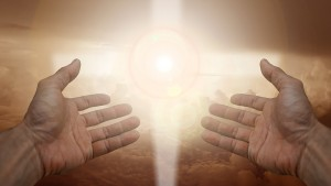 Magnificat Meal Movement Image of light hands for about magnificat meal movement page.
